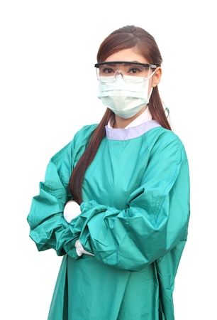 female doctor wearing a green scrubs with mask and glasses photo