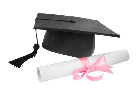 examiert: Graduation cap and diploma on white background Stock Photo