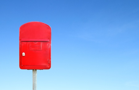 mailbox with a blue sky blank for text photo