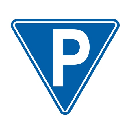 public safety: parking sign on white background Stock Photo