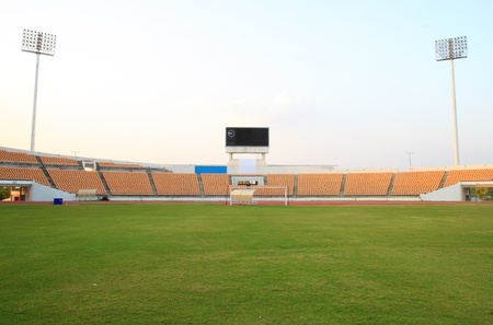 man field: empty small football stadium
