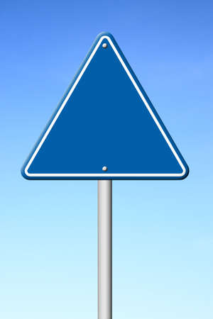 blue triangular road sign with sky balnk fort text photo