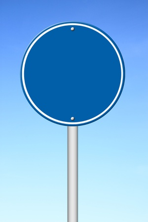 blank circle sign with blue sky photo