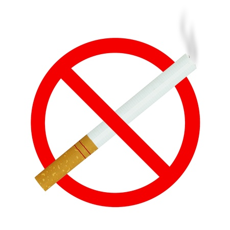 no smoking sign with cigarette on white background photo