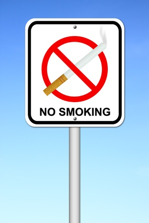 no smoking sign with cigarette with blue sky photo