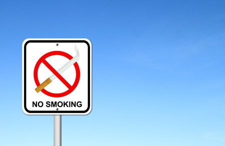 no smoking sign with cigarette with blue sky blank for text photo
