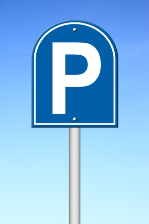 parking sign with blue sky photo
