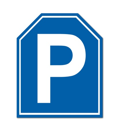 parking sign on white background photo