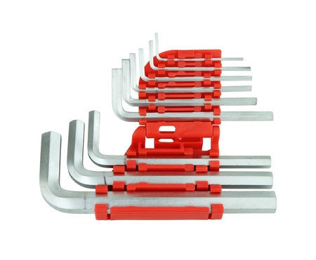 allen wrench: hexagon kit tool or allen wrench set on white background