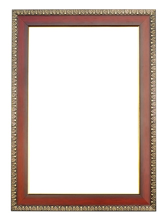 wooden picture frame on white background photo