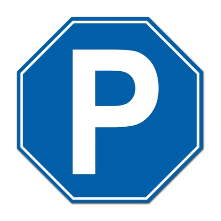 hexagon parking sign on white background photo