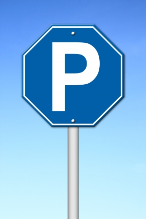 signal pole: hexagon parking sign with blue sky Stock Photo