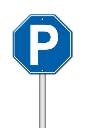 close p: hexagon parking sign on white background