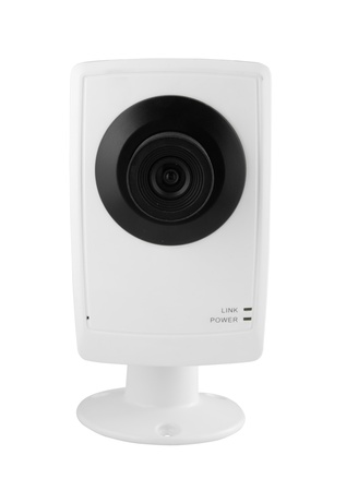 security camera on white background photo