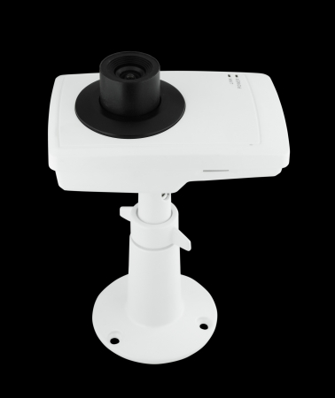 security camera on black background photo