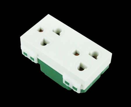 Electrical outlet (socket plug) on black background Stock Photo - 20446149