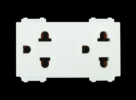 Electrical outlet (socket plug) on black background Stock Photo - 20446180