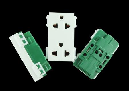 Electrical outlet (socket plug) on black background Stock Photo - 20446263