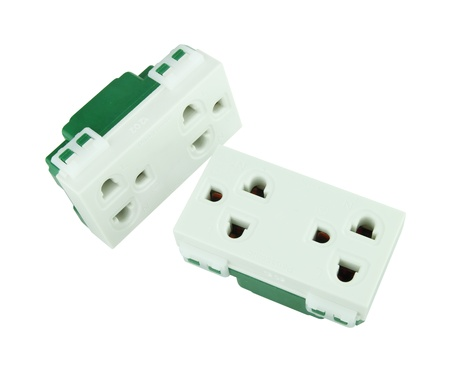 Electrical outlet (socket plug) on white background Stock Photo - 20446223