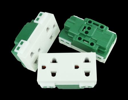 Electrical outlet (socket plug) on black background Stock Photo - 20446259