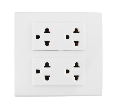 Electrical outlet (socket plug) on white background Stock Photo - 20446163