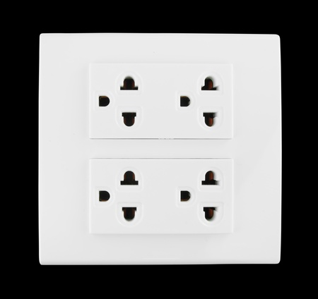 Electrical outlet (socket plug) on black background Stock Photo - 20446190