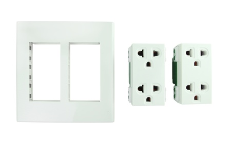 part of Electrical outlet (socket plug) on white background photo