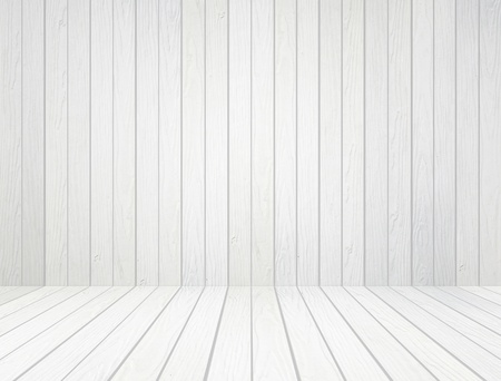 room interior with white wood wall and wood floor background photo