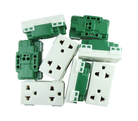 Electrical outlet (socket plug) on white background (with clipping path) Stock Photo - 20868252