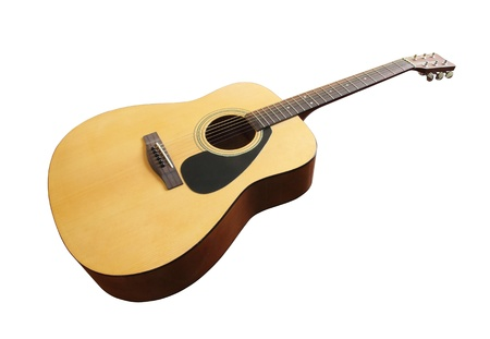 acoustic classic guitar on white background (with clipping path) photo