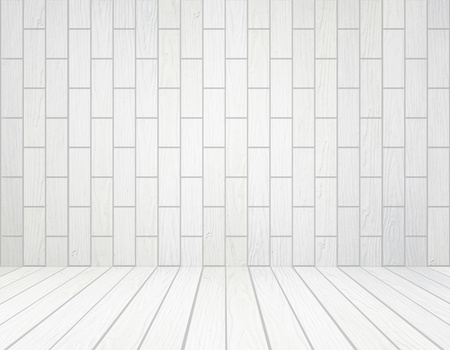 room interior with white wood wall (block style) and wood floor background photo