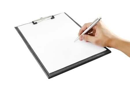 hand with pen writing on clipboard on white background (with clipping path)
