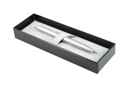pen in box on white background (clipping path) photo