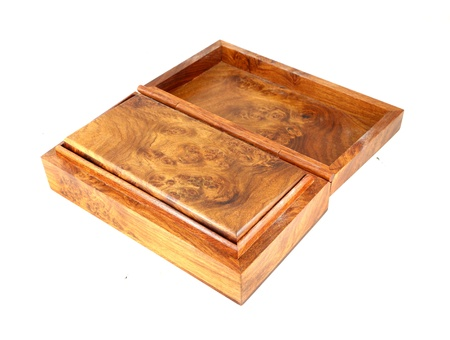 open wooden box (Myanmar style) on white background photo