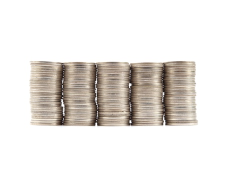 stack of Thai coins baht on white background photo