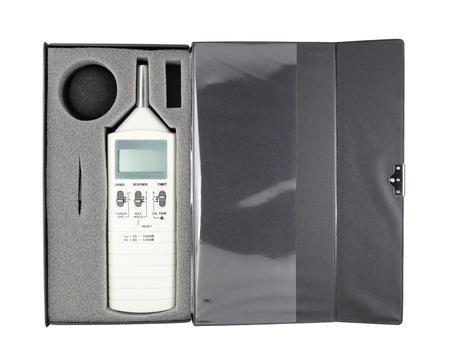 meter box: medidor de nivel de sonido en el cuadro (con trazado de recorte) Foto de archivo