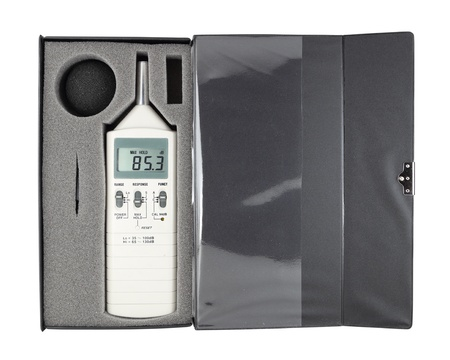 sound level meter in box (with clipping path) photo