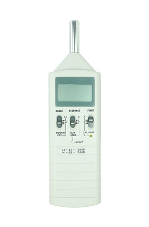 db: sound level meter on white background (with clipping path) Stock Photo