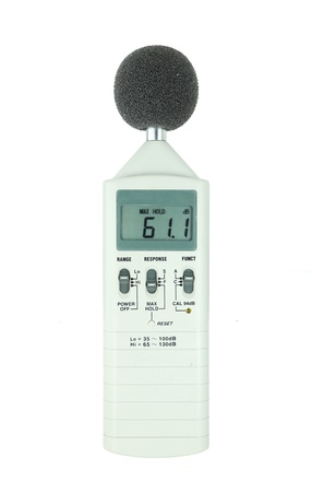 sound level meter (display show low level) on white background photo