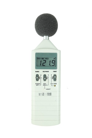 sound level meter (display show high level) on white background photo