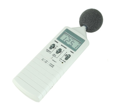 sound level meter (display show high level) on white background