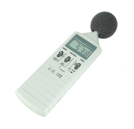 deafness: sound level meter (display show low level) on white background