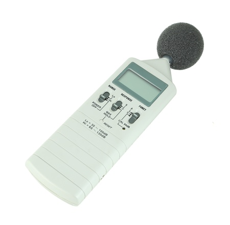 sound level meter on white background photo