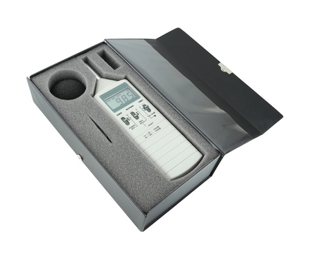 meter box: sound level meter in box  with clipping path