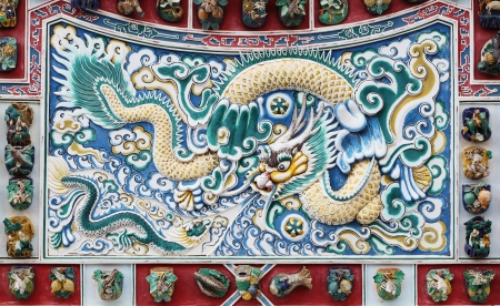 chinese dragon texture on the wall at Bang Pa-in Palace, Thailand photo