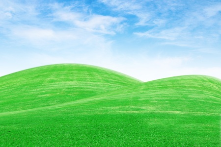 green grass hills with blue sky photo