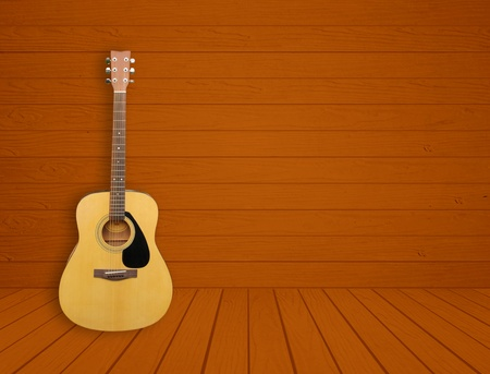 Guitar in blank empty wood room background photo