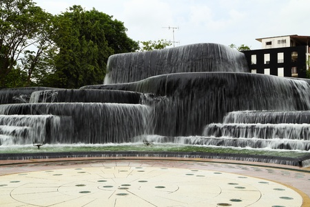 waterfall decoration in the park photo