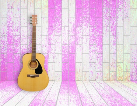 Guitar in old empty wood room background photo
