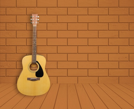 Guitar in empty room background photo